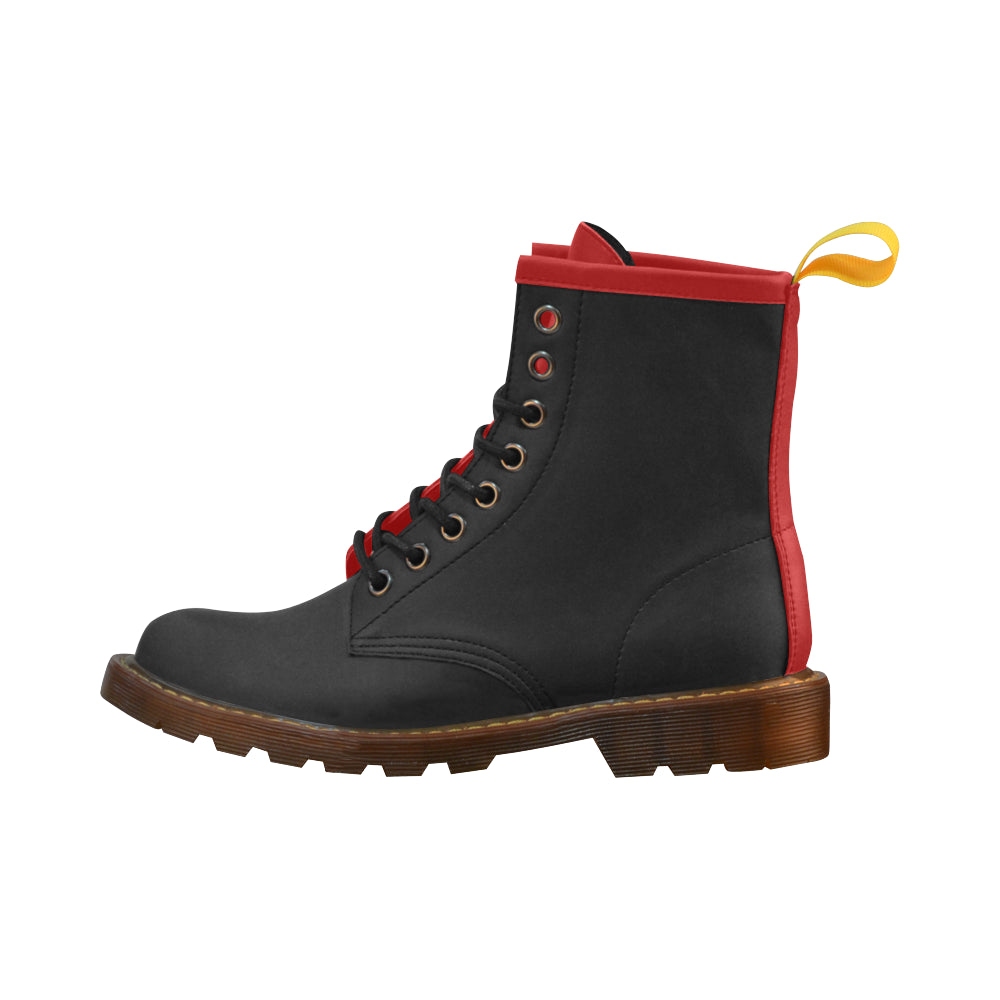 Awesome Classic Black n Red High Grade PU Leather Martin Style Boots For Women Combat Boots - CRE8Custom