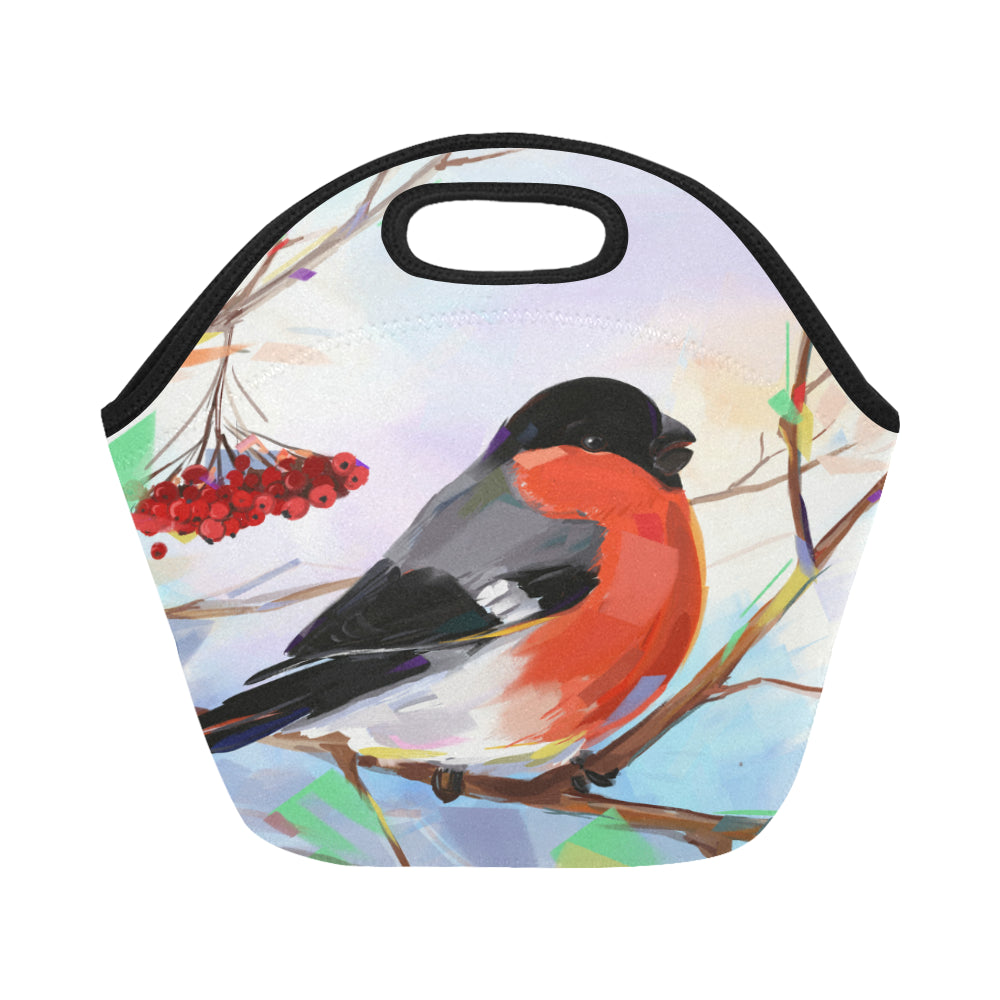 Bullfinch on trees in winter Neoprene Lunch Bag/Small - CRE8Custom