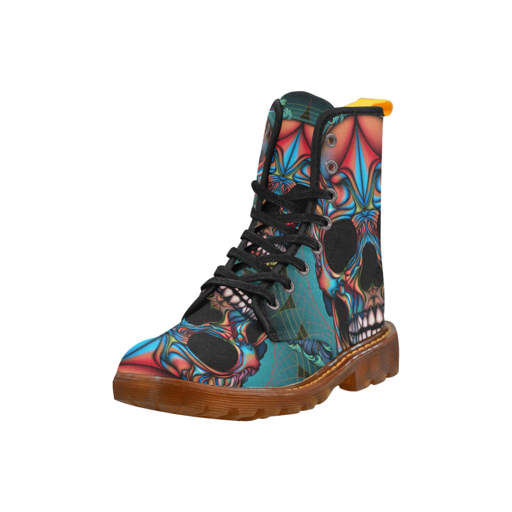 Colorful Skull Martin Style Boots For Women - CRE8Custom