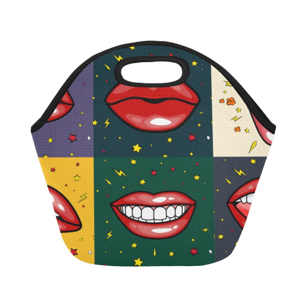 Girls Lips With Red Lipstick in Cartoon Pop Art Neoprene Lunch Bag/Small - CRE8Custom