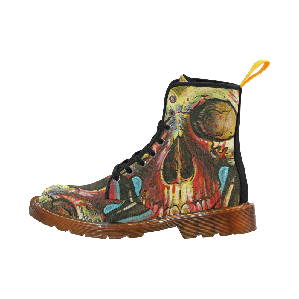 Color Skull Martin Style Boots For Women - CRE8Custom