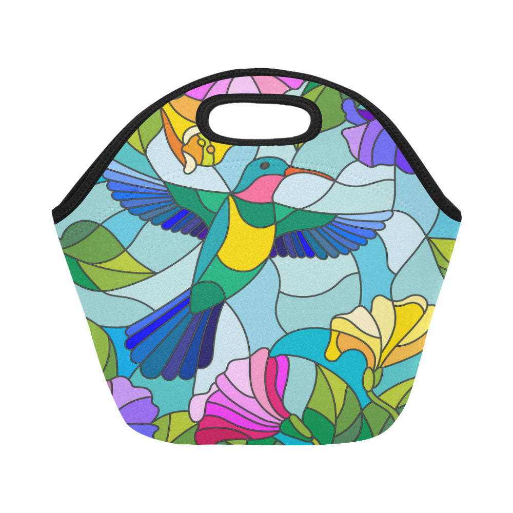 Stained Glass Style With Colorful Hummingbird Neoprene Lunch Bag/Small