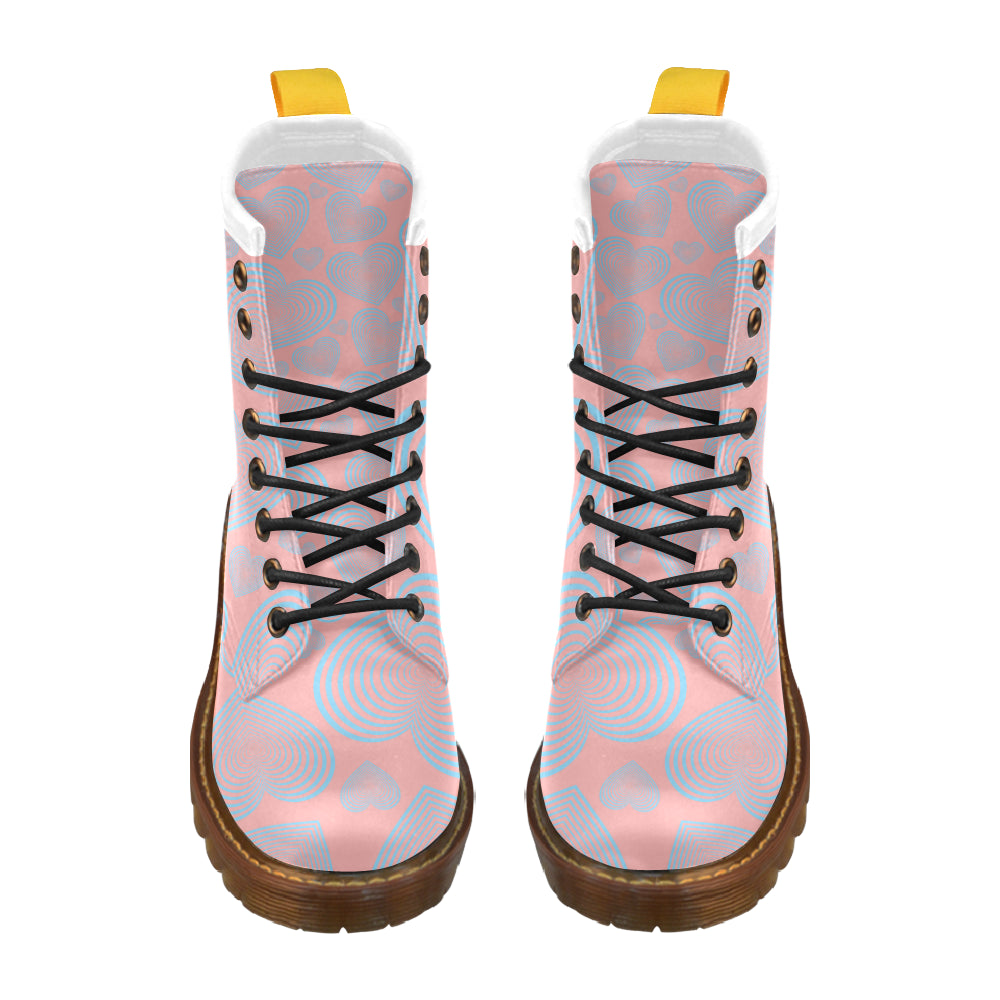 Abstract  Heart High Grade PU Leather Martin Style Boots For Women Combat Boots - CRE8Custom