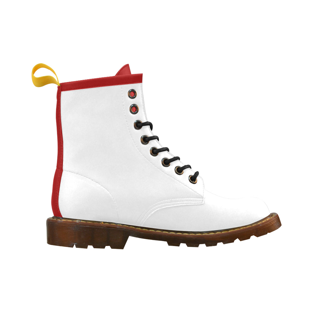 Awesome Classic White And Red High Grade PU Leather Martin Style Boots For Women Combat Boots - CRE8Custom