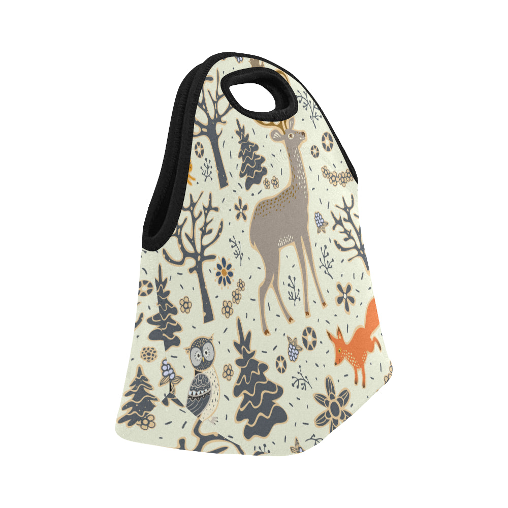 Owl Deer Fox Squirrel Birds Trees and Flowers Neoprene Lunch Bag/Small
