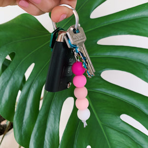 Pink Ombre Silicone Keychain
