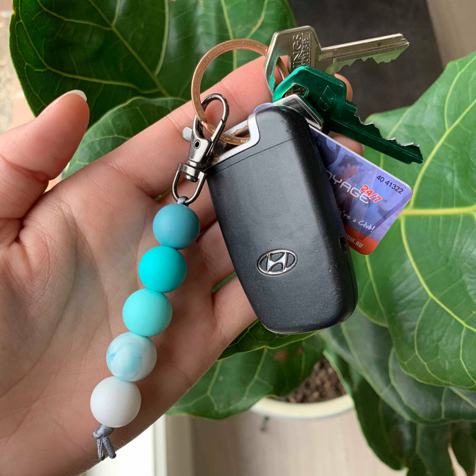 Turquoise & Marble Silicone Keychain