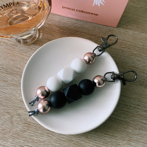 Black & Rose Gold Silicone Keychain
