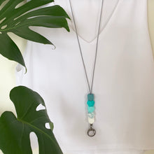 Load image into Gallery viewer, Turquoise & Marble Silicone Lanyard