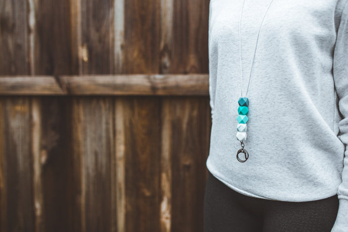 Turquoise & Marble Silicone Lanyard