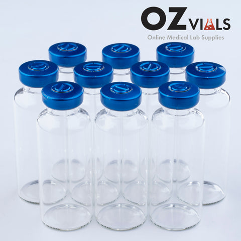 30ml Glass Vials Tubular 24x65mm Rubbers and Lid Combo s/s
