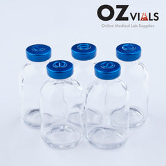 Tray of 50ml Glass Vials Moulded 41x70mm Rubbers and Lid Combo