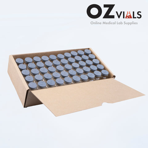 10ml Glass Vials 22x49.7mm Rubbers and Lid Combo s/s