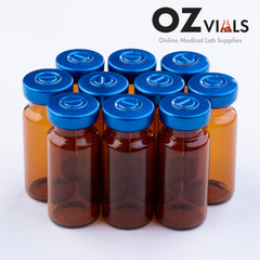 10ml Glass Vials Amber 22x50mm Rubbers and Lid Combo