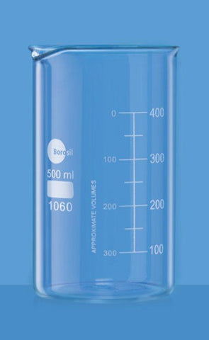 Borosil Glass beaker 500ml tall form
