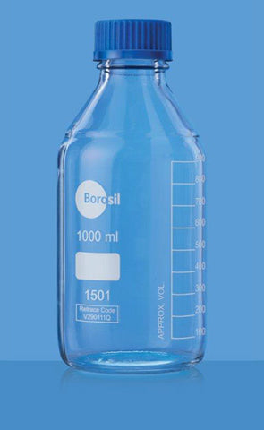 Glass Reagent Media Bottle Borosilicate 1000ml Borosil