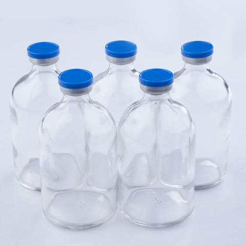 100ml Glass Vials Moulded 51x95mm Rubbers and Lid Combo s/s