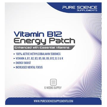 Pure Science B12 Patches 5000mcg Plus 10 Essential Vitamins - 6 Week Supply