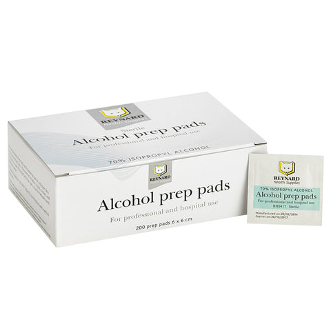 Reynard 70% Isopropyl Alcohol Prep pads Swabs 6 x 6cm 200 per Box
