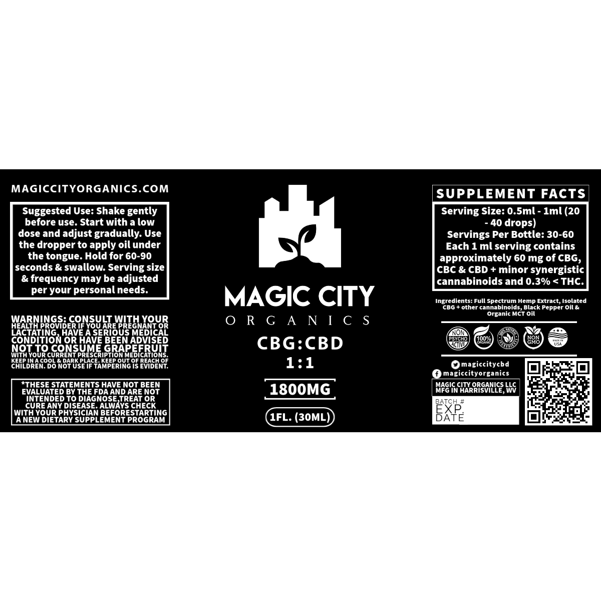 Magic City Organics CBG:CBD 1800MG || 1:1 Blend