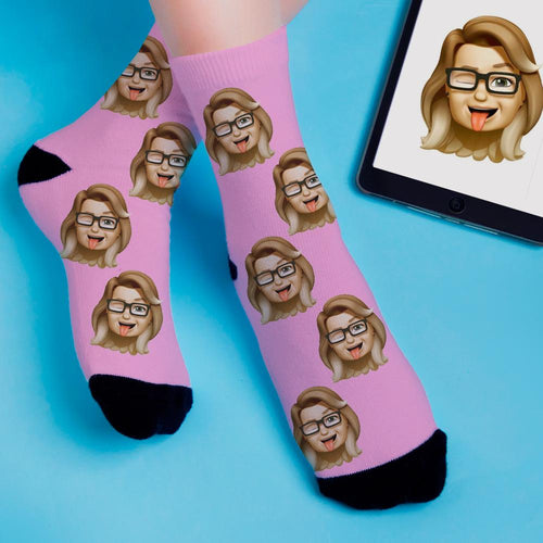 Custom Cartoon Memoji Face Socks Add Pictures And Name Colorful