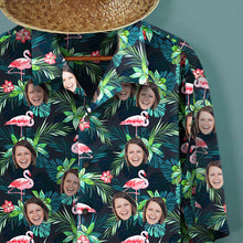 Custom Face All Over Print Hawaiian Shirt Flamingo Flowers And Leaves