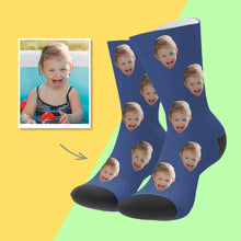Custom Face Socks Colorful - Blue
