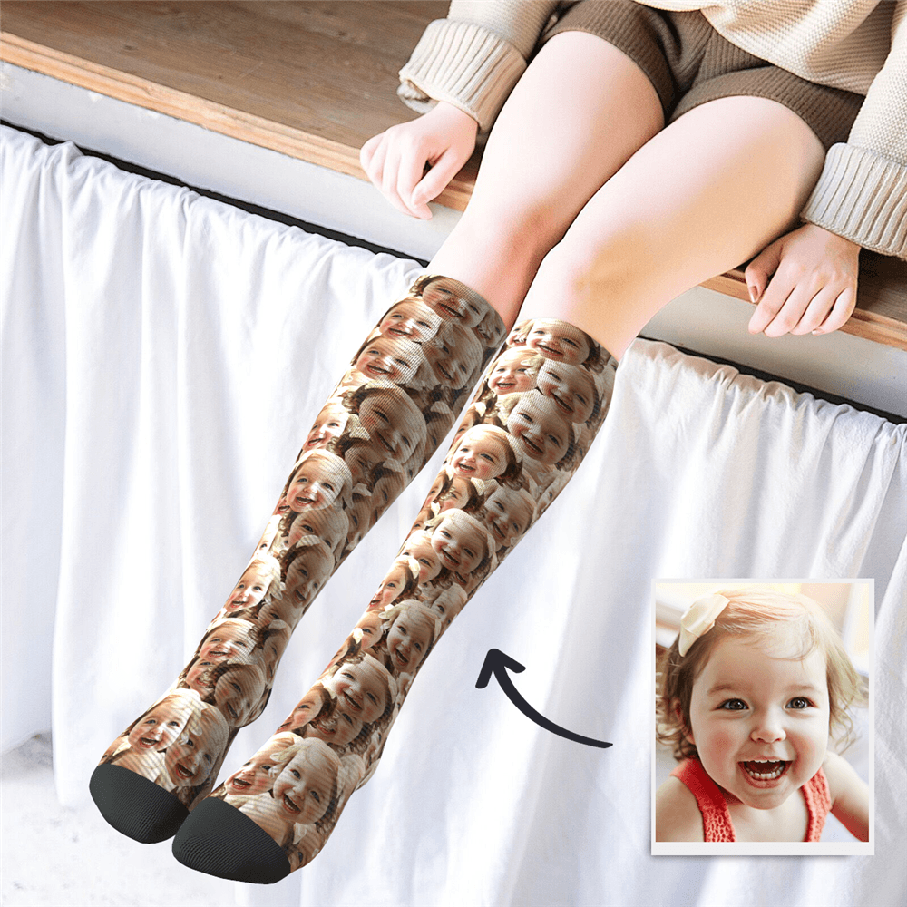 Custom Knee High Face Mash Socks