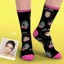 Custom Smile Face Socks Add Pictures-Cherry