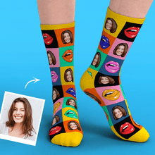 Custom Face Socks Add Pictures Colorful Mouth