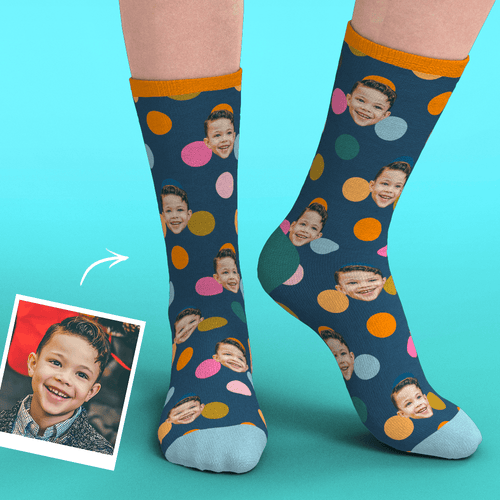 Custom Face Socks Add Pictures-Colorful Circle