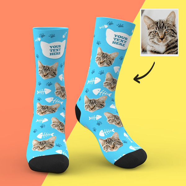 Custom Cat Socks Add Pictures And Name