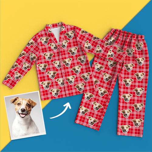 Custom Face Pajamas Long Sleeve Leisure Wear - Red Grid