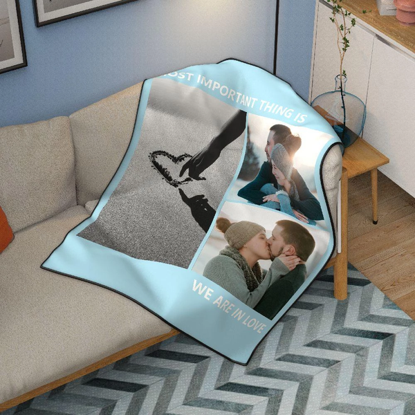 Personalized Love with 3 Photos Fleece Custom Blanket