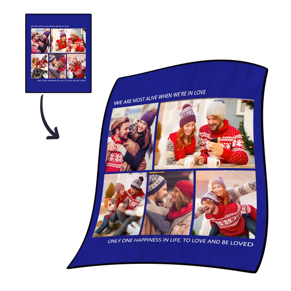 Personalized Sweet Lover with 5 Photos Fleece Custom Blanket