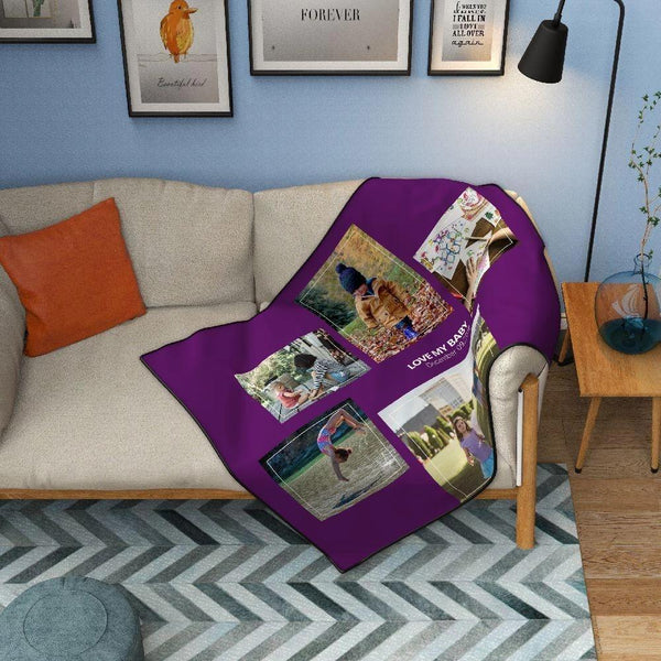 Personalized Kids with 5 Photos Fleece Custom Blanket