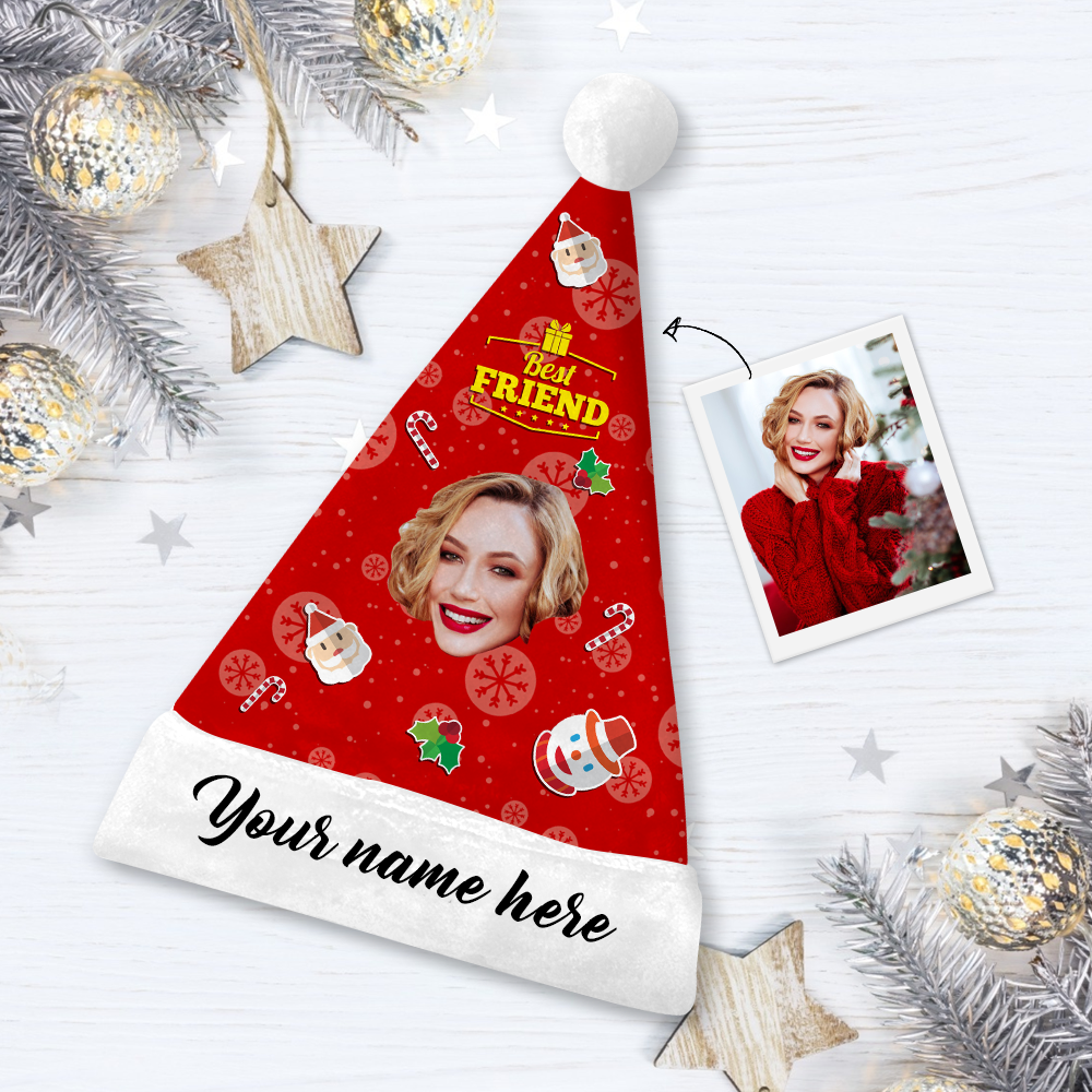 Custom Best Friends Face Santa Hat Add Pictures And Name