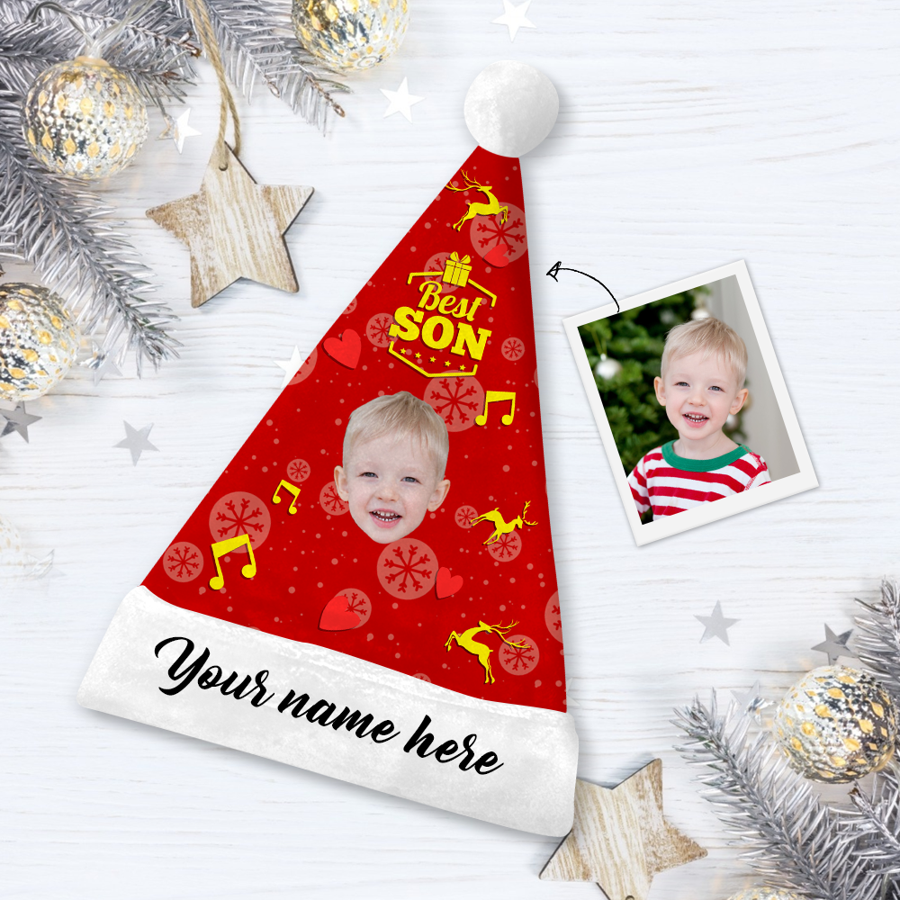 Custom Best Son Face Santa Hat Add Pictures And Name
