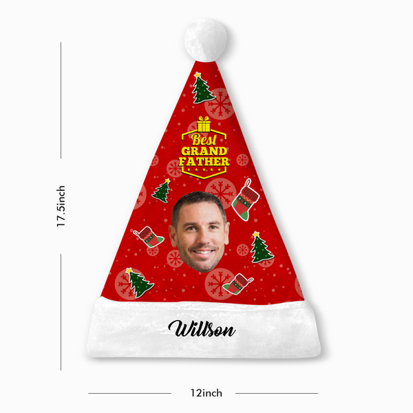 Custom Best Grandfather Face Santa Hat With Your Text