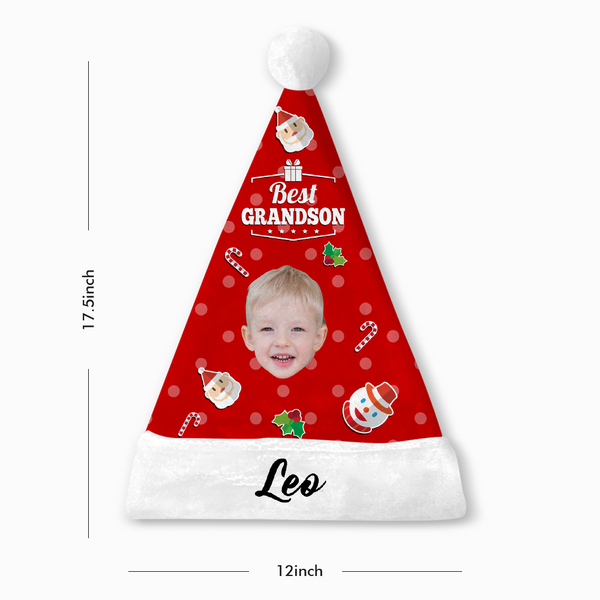 Custom Best Grandson Face Santa Hat Add Pictures And Name