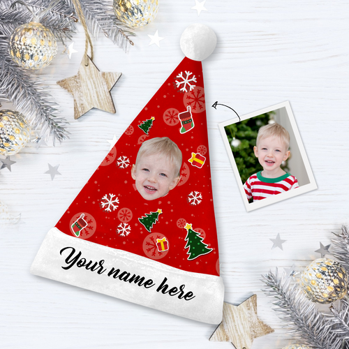 Custom Tree Hero Face Santa Hat Add Pictures And Name