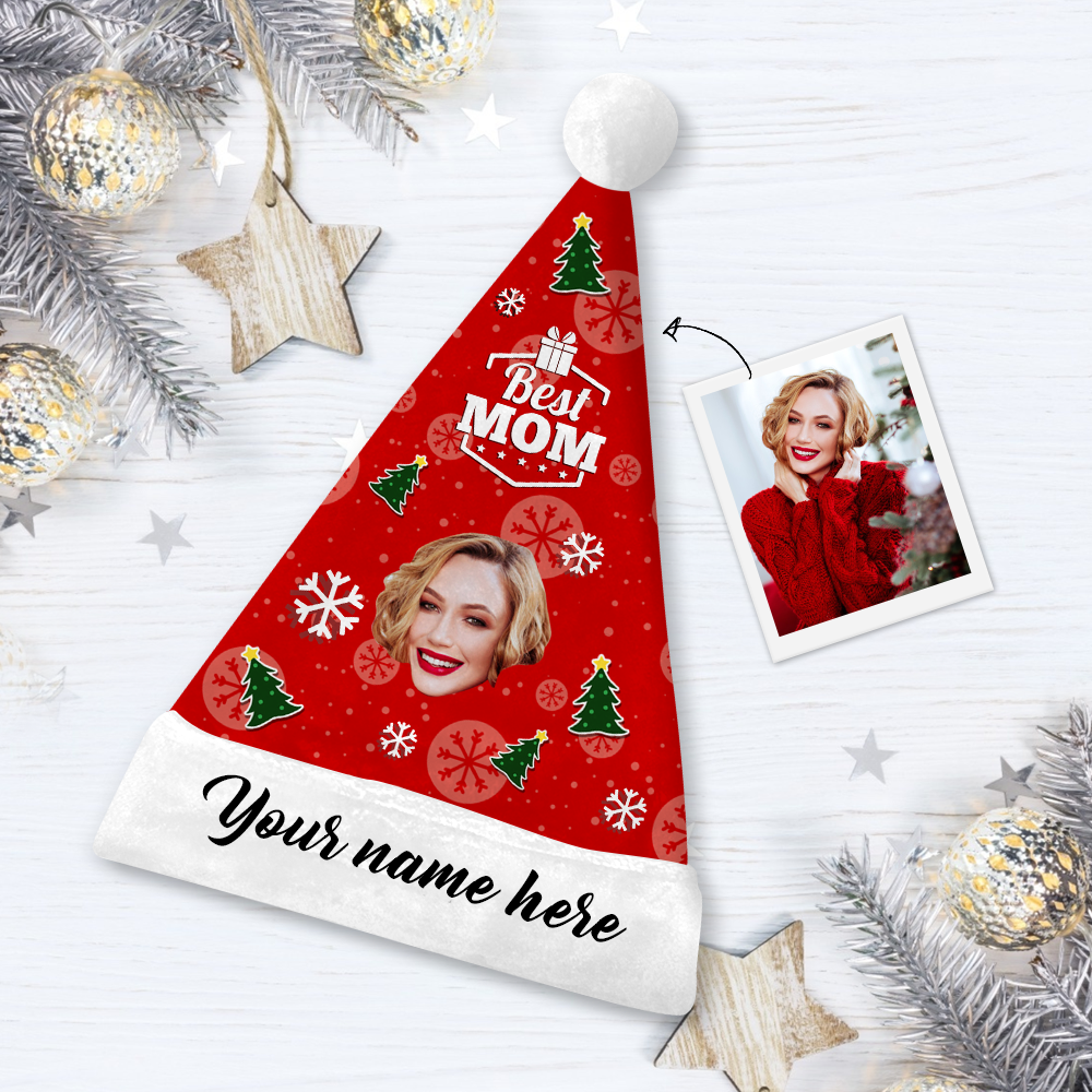 Custom Best Mom Face Santa Hat With Your Text