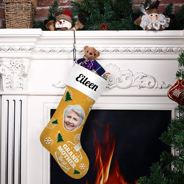 Custom Face Christmas Stocking Best Grand Mother Add Pictures And Name