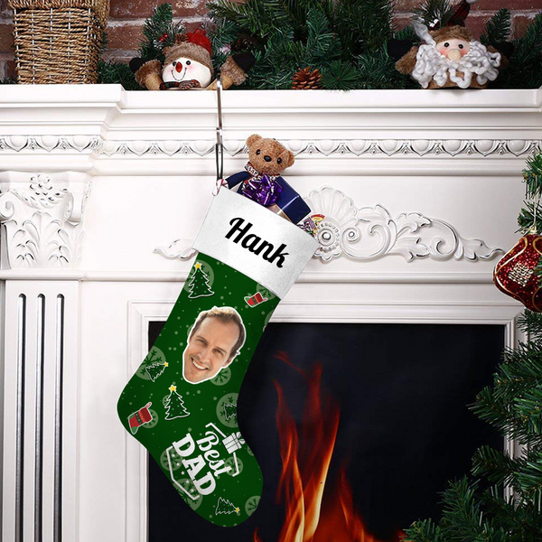 Custom Face Christmas Stocking Best Dad With Your Text