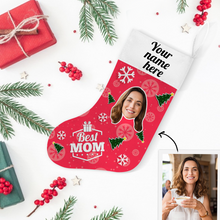 Custom Face Christmas Stocking Best MOM Add Pictures And Name