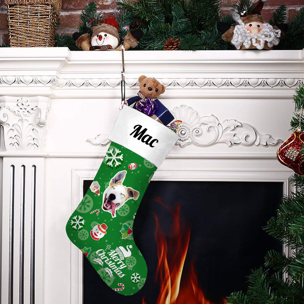 Custom Face Christmas Stocking Snowman Hero Add Pictures And Name
