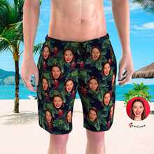 Men's Custom Face Beach Trunks All Over Print Photo Shorts - Tropical Leaves