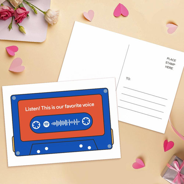 Custom Tape Spotify Code Mother's Day Greeting Card Personalized Gift Card