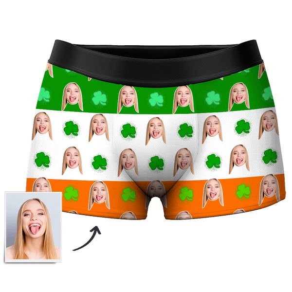 Men's Custom Face Boxer Shorts - Lucky clover