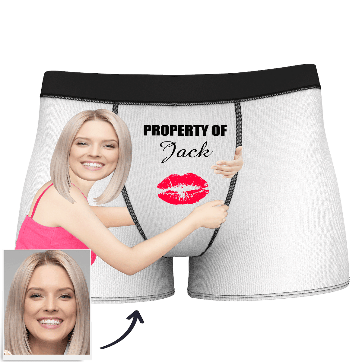 Custom Face Property Of Your Name Man Boxer Kiss